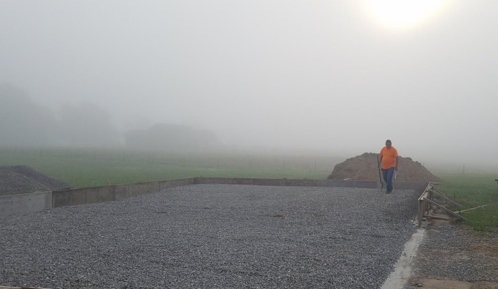 Our work starts before the sun rises. This is Randy at a ground rough-in early in the morning.
